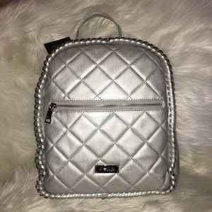 BEBE silver backpack 🎒 bag quilted leather